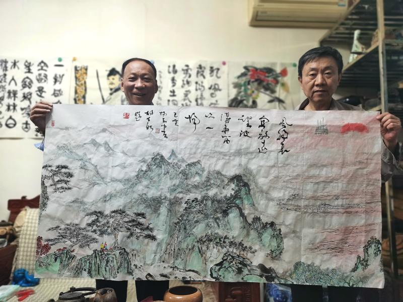 胡立新题杨志中山水画(二)——风物长宜放远望, 波涛弄笛吹一场。