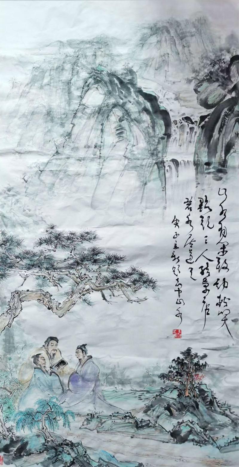 胡立新诗书画作品——《三人行》